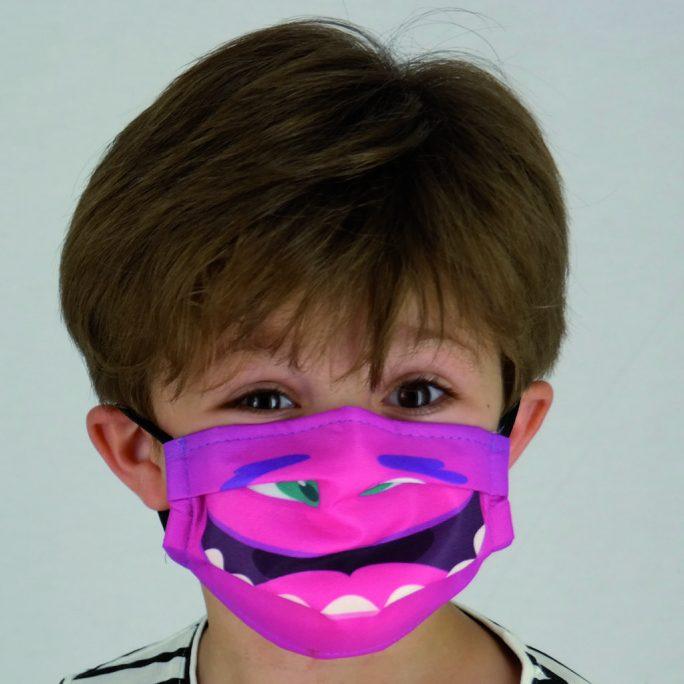 Mascarilla infantil Ángel Iglesias monstruo feliz rosa