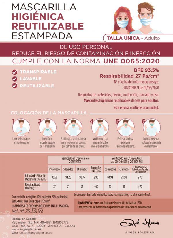 Tarjeta informativa mascarillas estampadas Ángel Iglesias Adulto delantera