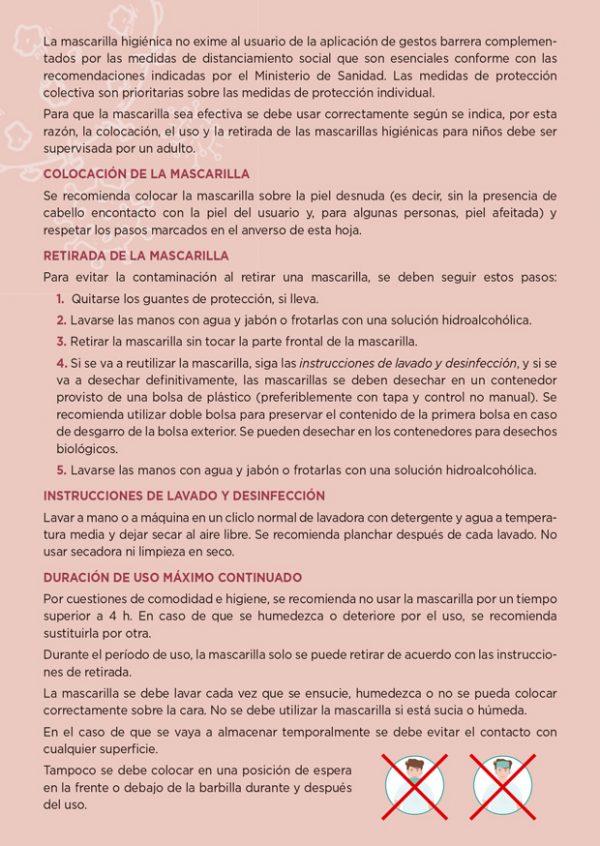 Tarjeta informativa mascarillas Ángel Iglesias trasera