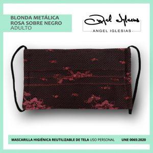 Mascarilla tul rojo con negro evento Ángel Iglesias