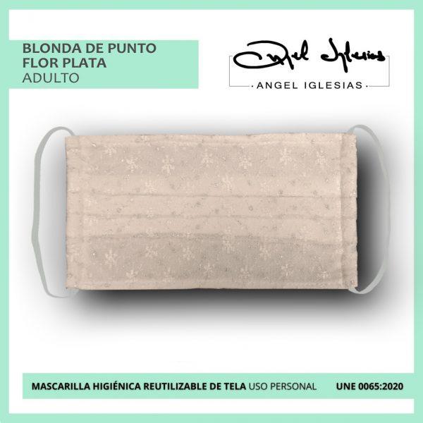 Mascarilla blonda de punto flor plata adulto evento Ángel Iglesias