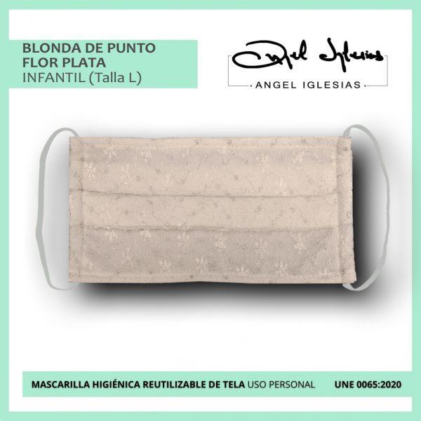 Mascarilla blonda de punto flor plata infantil evento Ángel Iglesias