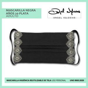Mascarilla tapete plateado evento Ángel Iglesias