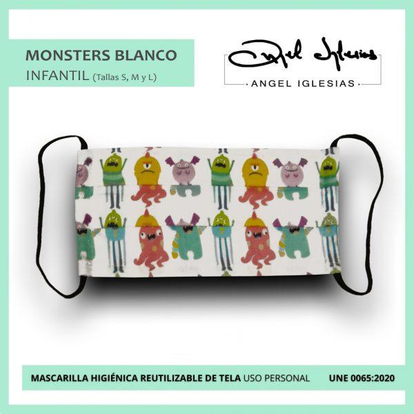 Mascarilla Infantil Ángel Iglesias Monstruos Fondo Blanco