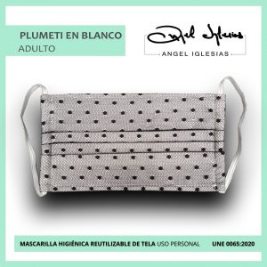 Mascarilla tul negro con blanco evento Ángel Iglesias