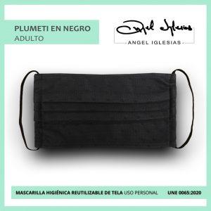 Mascarilla tul negro con negro evento Ángel Iglesias