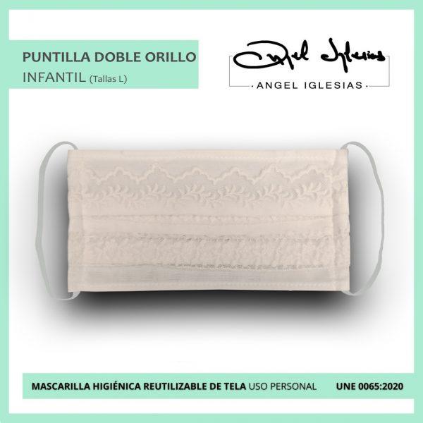 Mascarilla puntilla doble orillo evento Ángel Iglesias