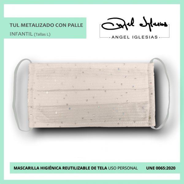Mascarilla tul metalizado infantil con palle evento Ángel Iglesias