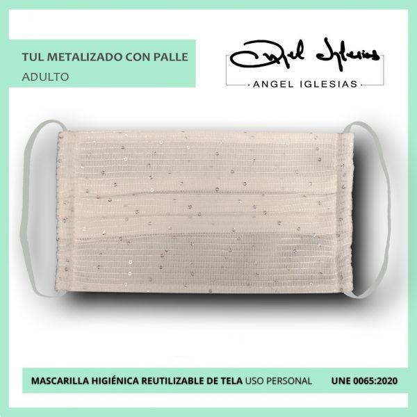Mascarilla tul metalizado con palle evento Ángel Iglesias