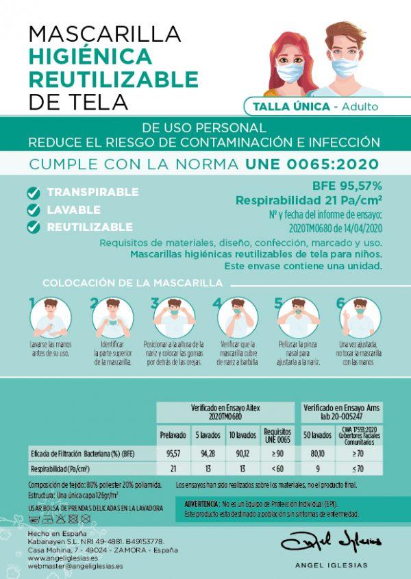 Tarjeta informativa mascarillas lisas Ángel Iglesias Adulto delantera