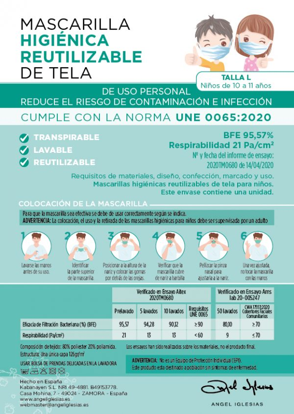 Tarjeta informativa mascarillas lisas Ángel Iglesias Infantil delantera