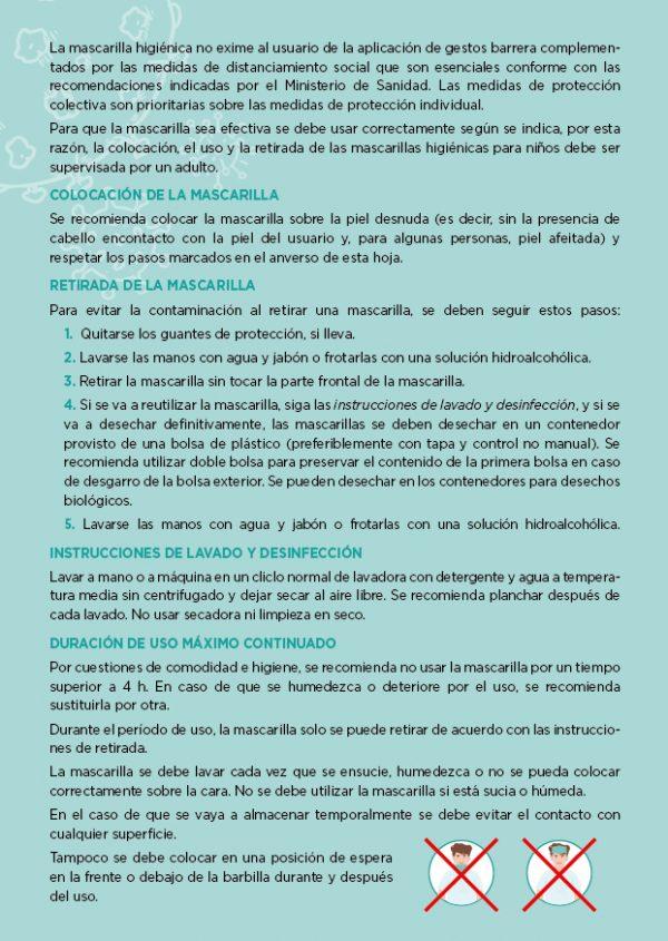 Tarjeta informativa mascarillas lisas Ángel Iglesias trasera