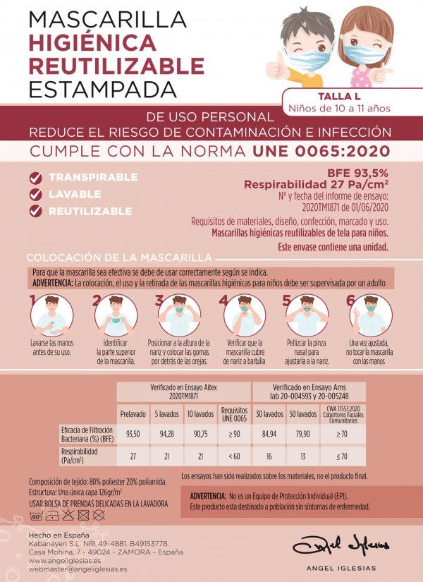 Tarjeta informativa mascarillas estampadas Ángel Iglesias Infantil delantera