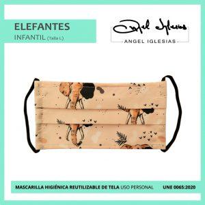 Mascarilla reutilizable Infantil Estampado elefantes Ángel Iglesias
